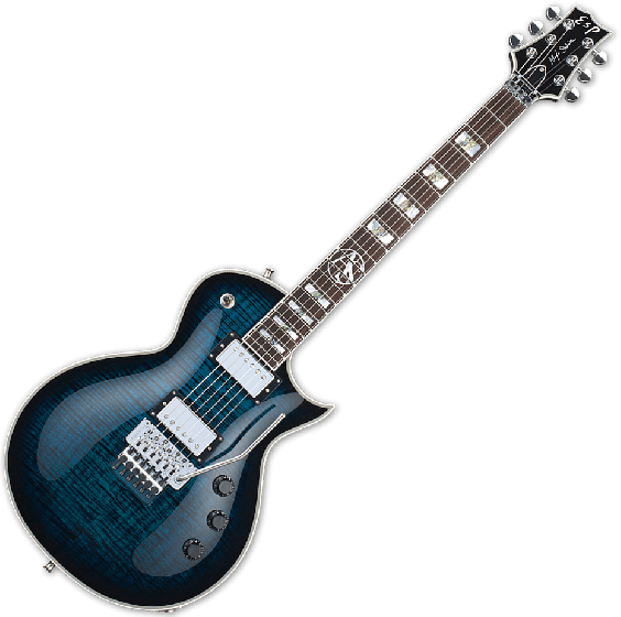 ESP Alex Skolnick FR Electric Guitar in Black Aqua Sunburst EALEXSFRBLKAQSB