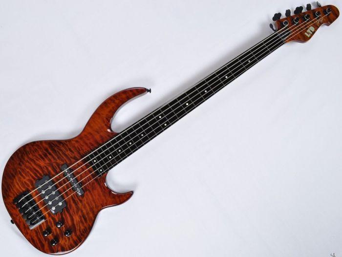 ESP LTD BB-1005FL QM Fretless Bunny Brunel Electric Bass in Burnt LBB1005FLQMBOR