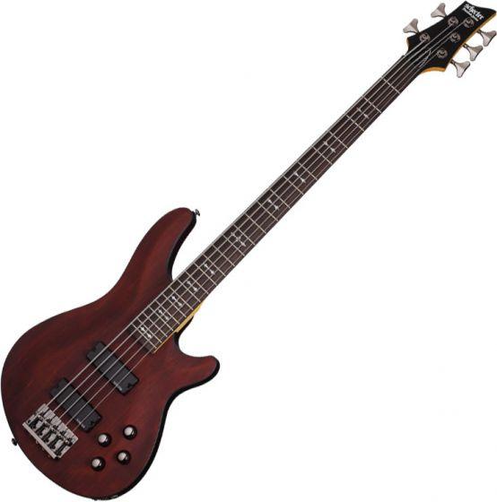 Schecter Omen-5 Electric Bass in Walnut Satin Finish sku number SCHECTER2094