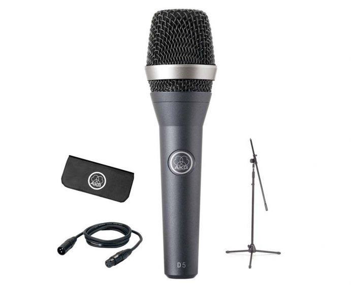 AKG D5 Stage Pack - XLR/XLR Cable and Full Size Microphone Stand With Boom 3138X00320