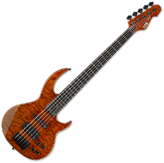 ESP LTD BB-1005 QM Bunny Brunel Electric Bass in Burnt Orange