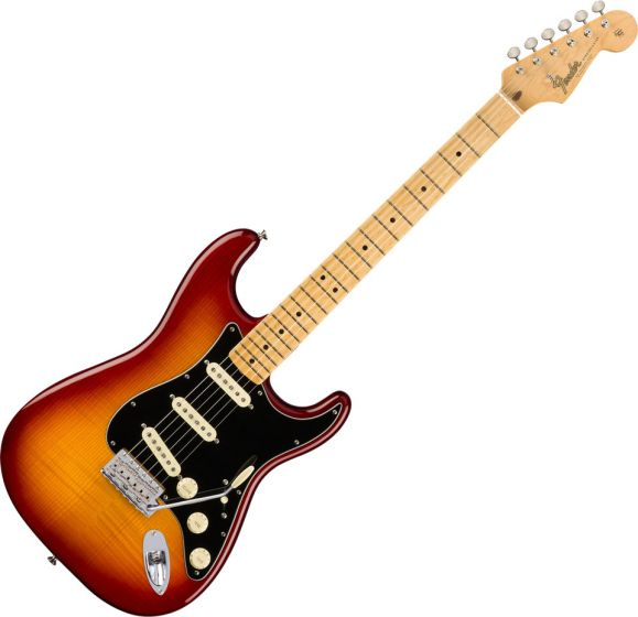 Fender Rarities Flame Ash Top Stratocaster Electric Guitar in Plasma Red Burst 0176502873