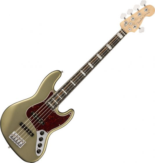 Fender American Elite Jazz Bass Electric Guitar V Ebony Fingerboard Satin Jade Pearl Metallic 0197101719