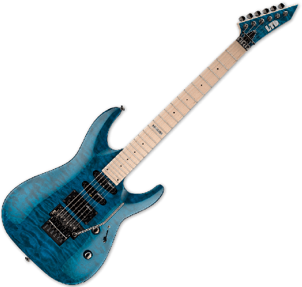 ESP LTD MH-103QM Guitar in See-Through Blue LMH103QMSTB
