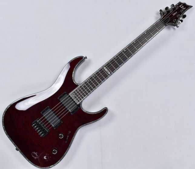 ESP LTD Deluxe H-1000 QM Electric Guitar in See Thru Black Cherry LH1000QMSTBC