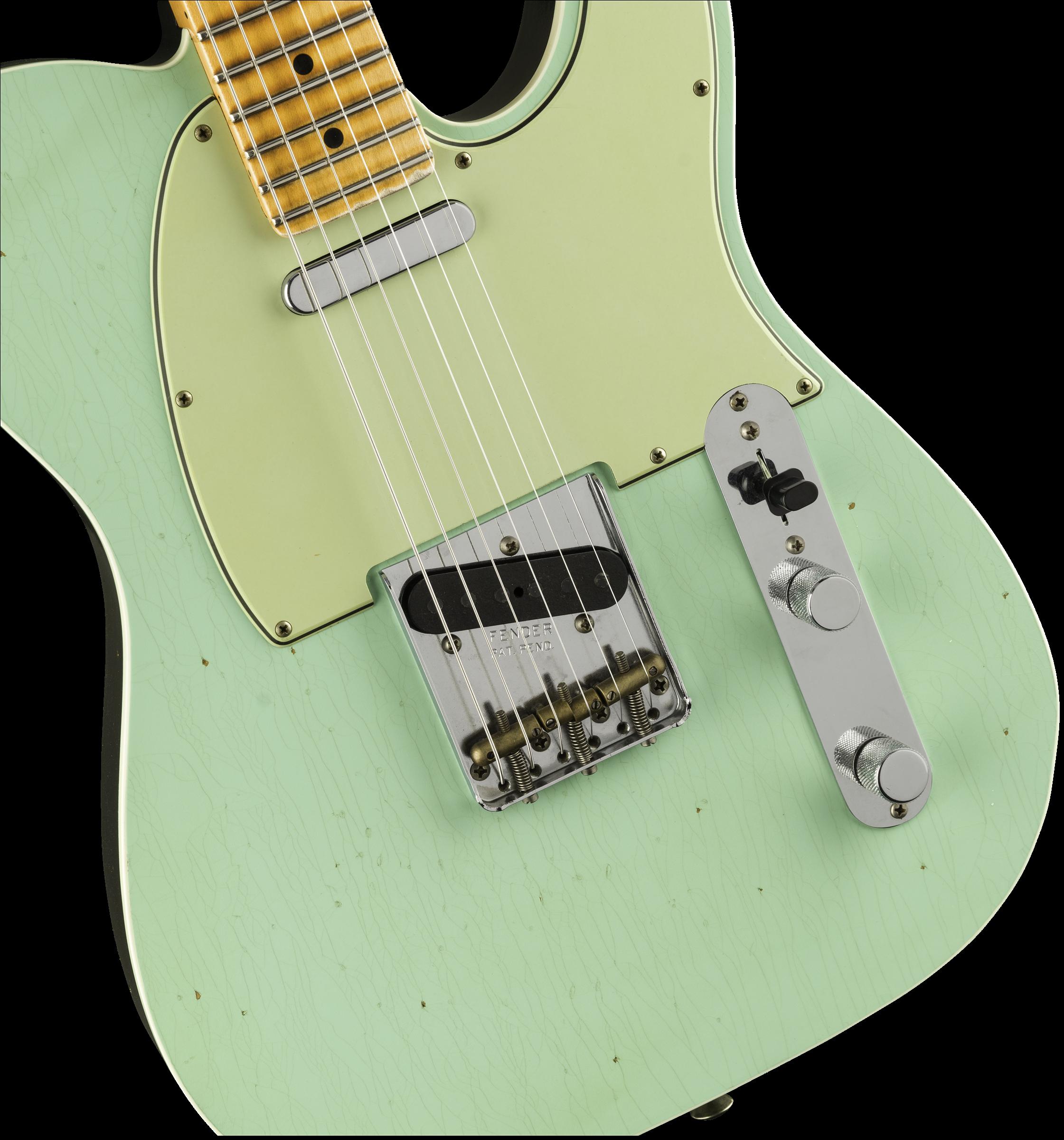 Fender Custom Shop Postmodern Telecaster Journeyman Relic Surf Green over  Black Electric Guitar