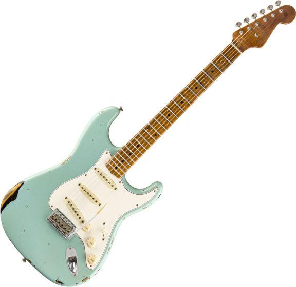 Fender Custom Shop 2019 Limited Roasted Tomatillo Strat Relic Electric Guitar Aged Daphne Blue 2-Color Sunburst 9235000874