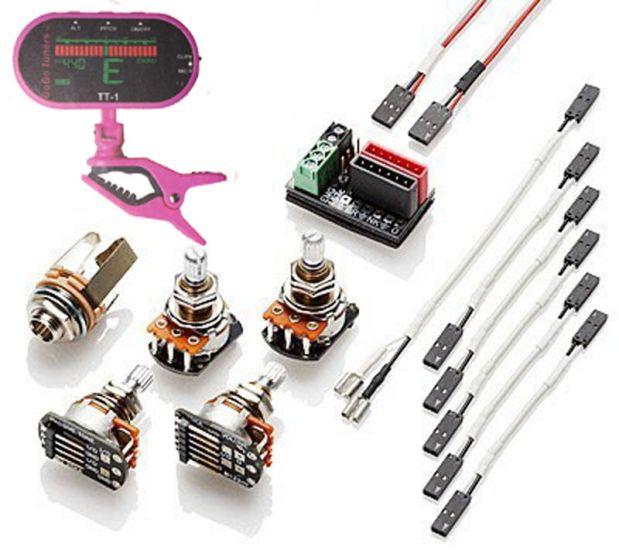 EMG 1 or 2 Pickups HZ (PASSIVE) Conversion Wiring Kit w/ Free Guitar Tuner 3880
