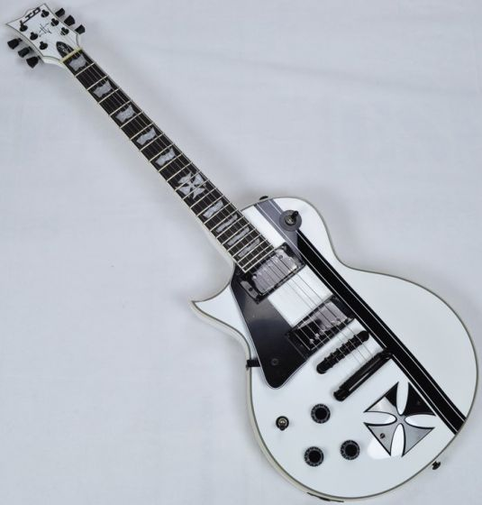 ESP LTD Iron Cross James Hetfield Left Hand Electric Guitar in Snow B-Stock sku number LIRONCROSSSWLH.B