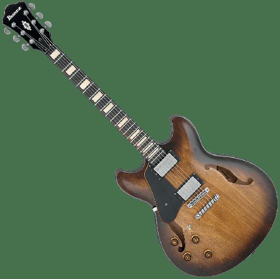 Ibanez Artcore Vintage ASV10AL Semi-Hollow Left-Handed Electric Guitar in Tobacco Burst Low Gloss ASV10ALTCL