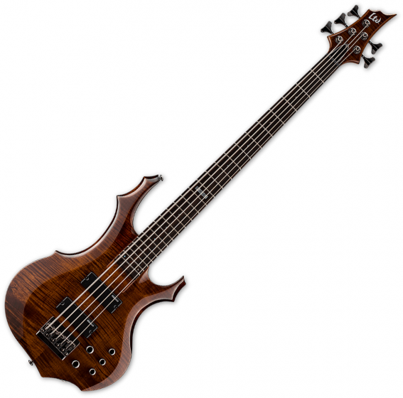 ESP LTD F-155DX Flamed Maple Top 5-String Electric Bass Walnut Brown LF155DXWBR