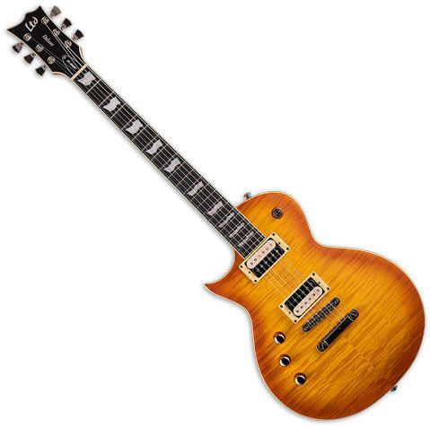 ESP LTD EC-1000T Left Handed Electric Guitar Honey Burst Satin LEC1000TFMHBSFLH