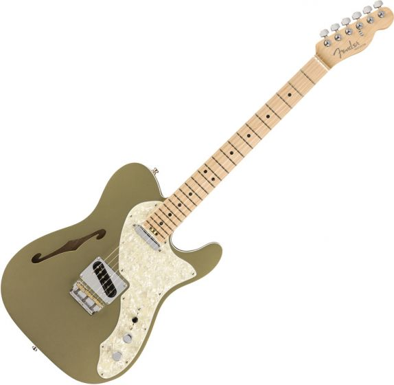 Fender American Elite Telecaster Thinline Electric Guitar in Satin Jade Pearl Metallic 0114312719
