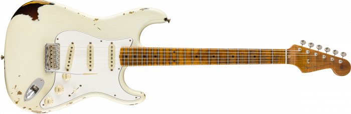 Fender Custom Shop 2019 Limited Roasted Tomatillo Strat Relic  Aged Olympic White over 2-Color Sunburst Electric Guitar 9235000873