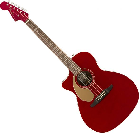 Fender Newporter Player Left Hand Acoustic Guitar Candy Apple Red 0970748009