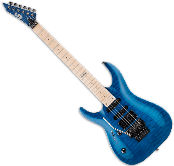 ESP LTD MH-103QM Left Handed Guitar in See-Through Blue