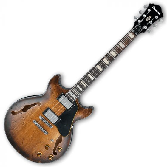 Ibanez Artcore Vintage AMV10A Semi-Hollow Electric Guitar in Tobacco Burst Low Gloss AMV10ATCL