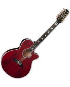 Takamine TSP158C-12 STR 12 String Acoustic Electric Guitar See Thru Red Gloss TAKTSP158C12STR