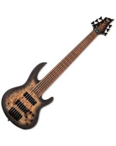 ESP LTD D-6 6 String Electric Bass Black Natural Burst Satin LD6BPBLKNBS