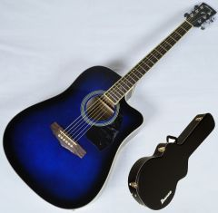 Ibanez PF15ECEWC-TBS PF Series Acoustic Guitar in Transparent Blue Sunburst High Gloss Finish SA150300756 PF15ECEWCTBS.B 0756