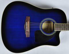 Ibanez PF15ECEWC-TBS PF Series Acoustic Guitar in Transparent Blue Sunburst High Gloss Finish SA150300754 PF15ECEWCTBS.B 0754