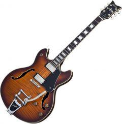 Schecter Corsair Custom Semi-Hollow Electric Guitar in Vintage Sunburst Pearl Finish SCHECTER1868