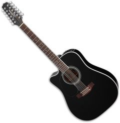 Takamine EF381SC Left Hand 12 String Acoustic Guitar in Black TAKEF381SCLH