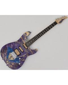 Schecter CET Custom USA Masterwork Guitar with Buckeye Burl Stabilized Top sku number MW CET PURPLE STABILIZED