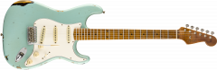 Fender Custom Shop 2019 Limited Roasted Tomatillo Strat Relic  Aged Daphne Blue over 2-Color Sunburst Electric Guitar 9235000874