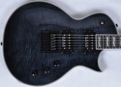 ESP LTD Deluxe EC-1000ET Evertune Flamed Maple Guitar in See-Thru Black with Hard Case LEC1000ETFMSTBLK WC