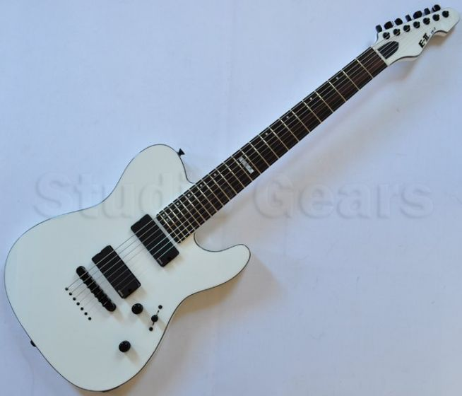 ESP E-II TE-7 Strings Electric Guitar in Snow White with Case sku number EIITESW