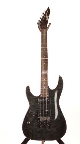 ESP LTD M-100FM See Thru Black Left Handed Electric Guitar 6SLM100FMSTBLKLH