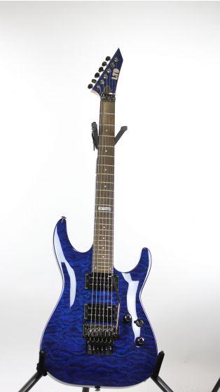 ESP LTD MH-100QM Black Aqua Sample/Prototype Electric Guitar 6SLMH100QMBLAQ_1850
