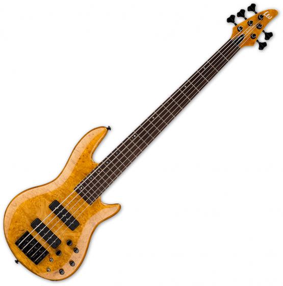 ESP LTD H-1005SE Burled Maple 5 String Electric Bass Honey Natural LH1005SEBMHN