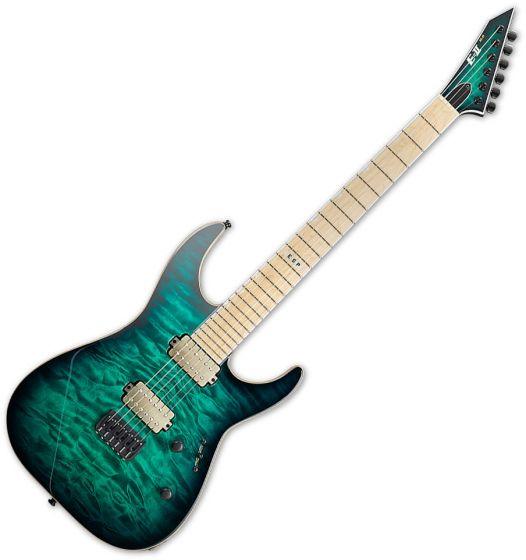ESP E-II M-II NT Hipshot Electric Guitar Black Turqoise Burst EIIMIINTHSDBTSB