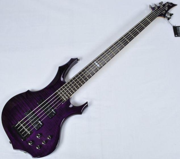 ESP LTD F-155DX Electric Bass in Dark See-Thru Purple B-Stock