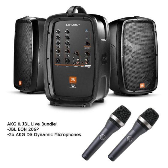 JBL EON206P Portable PA and Mixer / AKG D5 Dynamic Microphone Live Sound Bundle