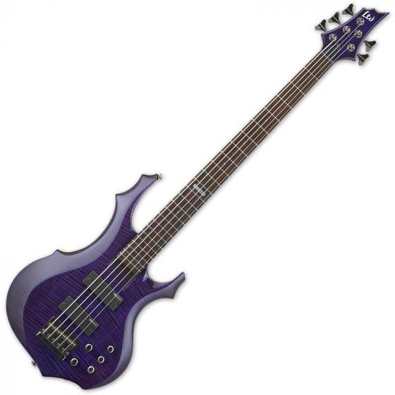 ESP LTD F-155DX Electric Bass in Dark See-Thru Purple