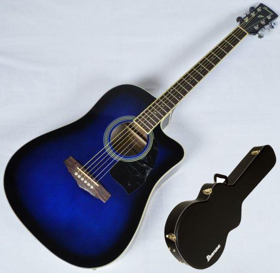Ibanez PF15ECEWC-TBS PF Series Acoustic Guitar in Transparent Blue Sunburst High Gloss Finish SA150300756