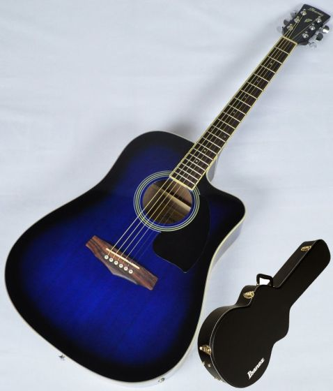 Ibanez PF15ECEWC-TBS PF Series Acoustic Guitar in Transparent Blue Sunburst High Gloss Finish SA150300754