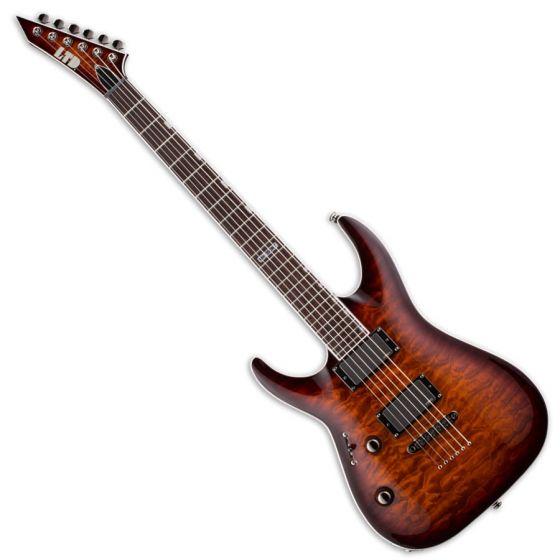 ESP LTD MH-350NT Left Handed Guitar in Dark Brown Sunburst