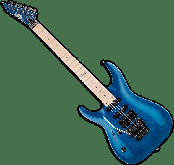 ESP LTD MH-103QM Left Handed Guitar in See-Through Blue B-Stock