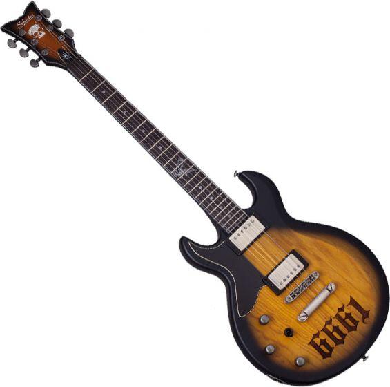 Schecter Zacky Vengeance ZV 6661 Left-Handed Electric Guitar in Aged Natural Satin Black Burst Finish