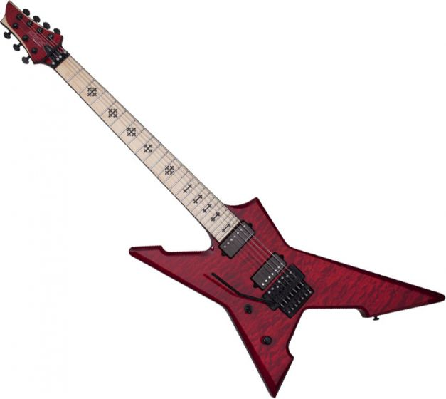 Schecter Jeff loomis Cygnus JLX-7 FR Left-Handed Electric Guitar in See-Thru Cherry