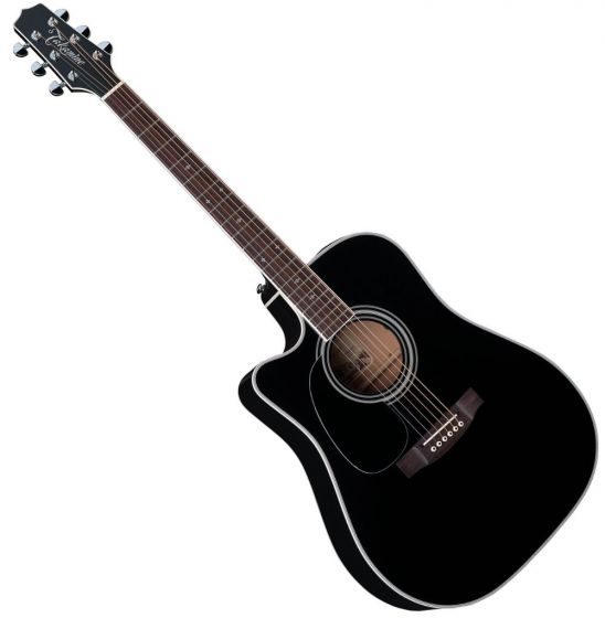Takamine EF341SC Left Handed Acoustic Guitar in Gloss Black Finish