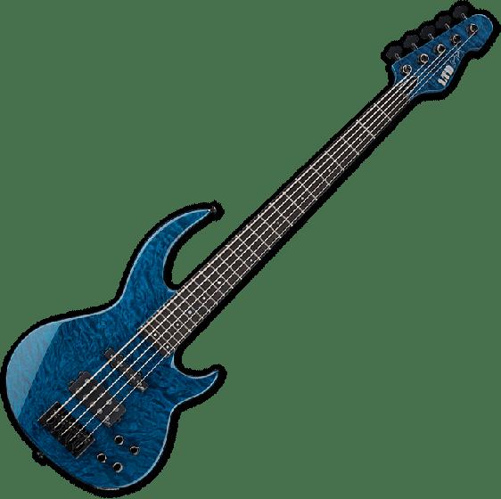 ESP LTD BB-1005 QM Bunny Brunel Electric Bass in Black Aqua
