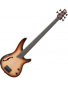 Ibanez SR Bass Workshop SRH505F 5 String Semi-Hollow Electric Bass Natural Browned Burst Flat SRH505FNNF