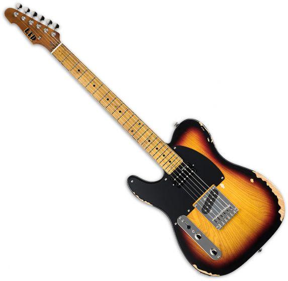 ESP LTD TE-254 Left-Handed Electric Guitar Distressed 3-Tone Burst