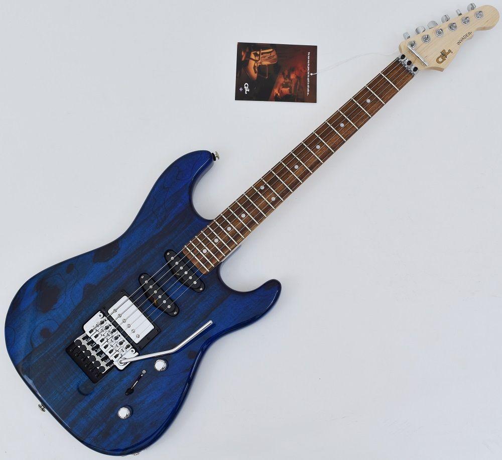 g l usa invader spalted alder top electric guitar in clear blue brand. Black Bedroom Furniture Sets. Home Design Ideas