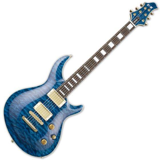ESP E-II Mystique QM/NT Marine Blue Electric Guitar